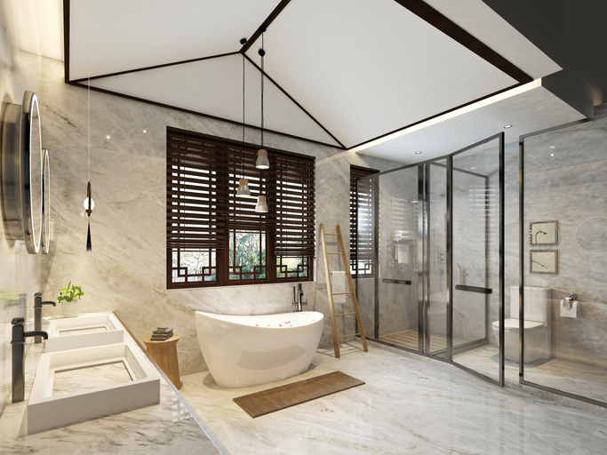 modern bathroom with standing bathtub